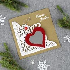 Sydänheijastin joulukortissa