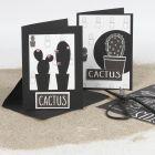 Kaktuskortit korttipohjasta ja kuviopaperista