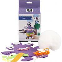DIY-askartelupakkaus, monster - Topsy, koko 24x21 cm, violetti, 1 set