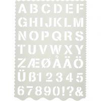 Muovisabloni, kirjaimet ja numerot, Kork. 25 mm, 21x29 cm, 1 kpl