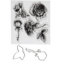 Kirkkaat leimasimet ja kuvioterät, Kukat, koko 4-6,5 cm, 1 pkk