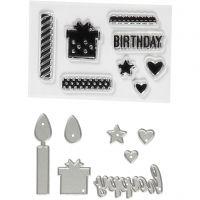 Kirkkaat leimasimet ja kuvioterät, Syntymäpäivä, koko 10-70 mm, 1 pkk