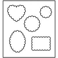 Paksu kuvioterä, Kuviot pyöristetyillä kulmilla, koko 14x15,25 cm, paksuus 15 mm, 1 kpl