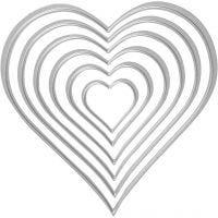 Kuvioterä, sydämet, koko 2,5x3-10x11 cm, 1 kpl
