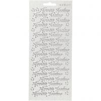 Ääriviivatarrat, Hyvää joulua, 10x23 cm, hopea, 1 ark