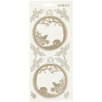 Ääriviivatarra, Joulupallot, 10x23 cm, kulta, kuulto, 1 ark