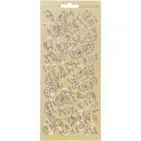 Ääriviivatarra, Perhoset, 10x23 cm, kulta, 1 ark