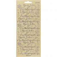 Ääriviivatarrat, Hvvää Joulua, 10x23 cm, kulta, 1 ark
