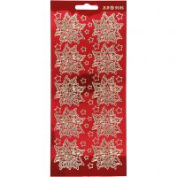 Ääriviivatarra, Joulutähti, 10x23 cm, kulta, kuulto punainen, 1 ark
