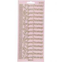 Ääriviivatarrat, Hyvaa Pääsiäistä, 10x23 cm, glitter kulta, 1 ark