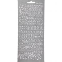 Ääriviivatarrat, aakkoset, 10x23 cm, hopea, 1 ark