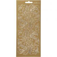 Ääriviivatarra, marjat ja lehdet, 10x23 cm, kulta, 1 ark
