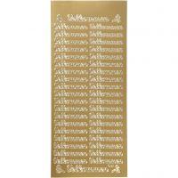 Ääriviivatarra, velkommen, 10x23 cm, kulta, 1 ark