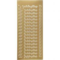 Ääriviivatarra, guldbryllup, 10x23 cm, kulta, 1 ark