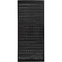Ääriviivatarra, Pienet kirjaimet, 10x23 cm, musta, 1 ark
