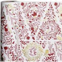 Lahjapaperi, joulukuuset, Lev: 50 cm, 80 g, kulta, punainen, valkoinen, 100 m/ 1 rll