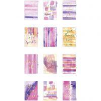 Välilehdet, A5, 12 , kulta, violetti, rosa, 1 kpl/ 1 pkk