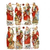 Kiiltokuvat, joulupukki, 16,5x23,5 cm, 3 ark/ 1 pkk