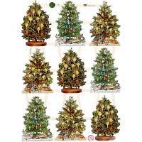 Kiiltokuvat, joulukuusi, 16,5x23,5 cm, 3 ark/ 1 pkk