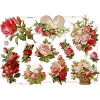 Kiiltokuvat, ruusut, 16,5x23,5 cm, 3 ark/ 1 pkk