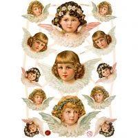Kiiltokuvat, enkelit, 16,5x23,5 cm, 3 ark/ 1 pkk