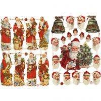 Kiiltokuvat, Joulupukki ja lahjat, 16,5x23,5 cm, 2 ark/ 1 pkk
