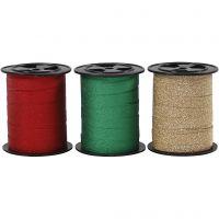 Lahjanauha, Lev: 10 mm, kimalle, kulta, vihreä, punainen, 3x15 m/ 1 pkk