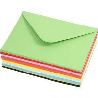 Kirjekuoret, värilliset, kirjekuoren koko 11,5x16 cm, 80 g, 10x10 kpl/ 1 pkk