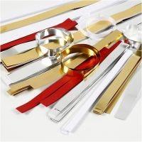 Paperisuikaleet, Pit. 44+78 cm, Lev: 10+15+25 mm, halk. 4,5+6,5+11,5 cm, kulta, punainen, hopea, valkoinen, 5000 suikaleet/ 1 laj