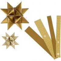 Paperisuikaleet, Pit. 44+78 cm, halk. 6,5+11,5 cm, Lev: 15+25 mm, kimalle,lakka, kulta, 40 suikaleet/ 1 pkk