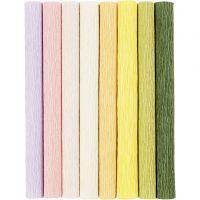 Kreppipaperi, 25x60 cm, Jonka joustavuus: 180%, 105 g, pastellivärit, 8 ark/ 1 pkk
