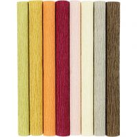 Kreppipaperi, 25x60 cm, Jonka joustavuus: 180%, 105 g, murretut värit, 8 ark/ 1 pkk