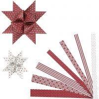 Paperitähtisuikaleet, Pit. 44+78 cm, halk. 6,5+11,5 cm, Lev: 15+25 mm, punainen, valkoinen, 60 suikaleet/ 1 pkk