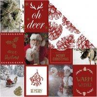Kuviopaperi, jouluaiheet ja kävyt, 180 g, kulta, punainen, 3 ark/ 1 pkk