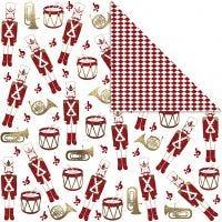 Kuviopaperi, pähkinänsärkijä, 180 g, kulta, punainen, valkoinen, 3 ark/ 1 pkk