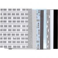 Kuviopaperilehtiö, koko 21x30 cm, 120+128 g, musta, sininen, harmaa, valkoinen, 24 ark/ 1 pkk
