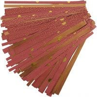 Paperisuikaleet, Pit. 44+78 cm, halk. 6,5+11,5 cm, Lev: 15+25 mm, kulta, punainen, 48 suikaleet/ 1 pkk