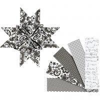 Paperitähtisuikaleet, Pit. 100 cm, halk. 18 cm, Lev: 40 mm, musta, valkoinen, 40 suikaleet/ 1 pkk