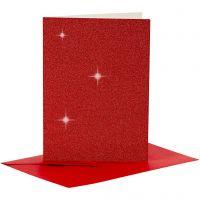 Korttipohja & kirjekuori, kortin koko 10,5x15 cm, kirjekuoren koko 11,5x16,5 cm, kimalle, 110+250 g, punainen, 4 set/ 1 pkk