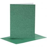 Korttipohja & kirjekuori, kortin koko 10,5x15 cm, kirjekuoren koko 11,5x16,5 cm, kimalle, 110+250 g, vihreä, 4 set/ 1 pkk