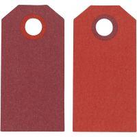 Kartonkietiketti, koko 6x3 cm, 250 g, viininpunainen/punainen, 20 kpl/ 1 pkk