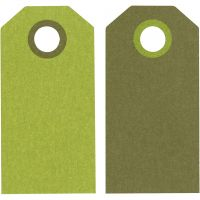 Kartonkietiketti, koko 6x3 cm, 250 g, limenvihreä/tummanvihreä, 20 kpl/ 1 pkk