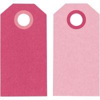 Kartonkietiketti, koko 6x3 cm, 250 g, pinkki/rosa, 20 kpl/ 1 pkk