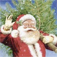 Servietit, Joulupukki joulukuusen kanssa, koko 33x33 cm, 20 kpl/ 1 pkk