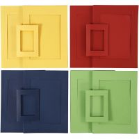 Passepartoutkehykset, koko A4+A6 , sininen, vihreä, punainen, keltainen, 2x60 kpl/ 1 pkk