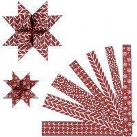 Paperisuikaleet, Pit. 44+78 cm, halk. 6,5+11,5 cm, Lev: 15+25 mm, punainen, valkoinen, 60 suikaleet/ 1 pkk