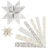 Paperisuikaleet, Pit. 44+78 cm, halk. 6,5+11,5 cm, Lev: 15+25 mm, kulta, valkoinen, 48 suikaleet/ 1 pkk