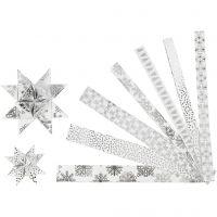 Paperitähti-suikaleet, Pit. 44+78 cm, halk. 6,5+11,5 cm, Lev: 15+25 mm, hopea, valkoinen, 48 suikaleet/ 1 pkk