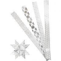 Paperitähti-suikaleet, Pit. 100 cm, halk. 18 cm, Lev: 40 mm, hopea, valkoinen, 40 suikaleet/ 1 pkk