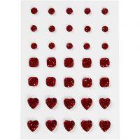 Akryylitimantit, pyöreä, neliö, sydän, koko 6+8+10 mm, punainen, 35 kpl/ 1 pkk